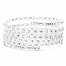Expandable multi layered coil style bracelet with crystal and pearl detail.